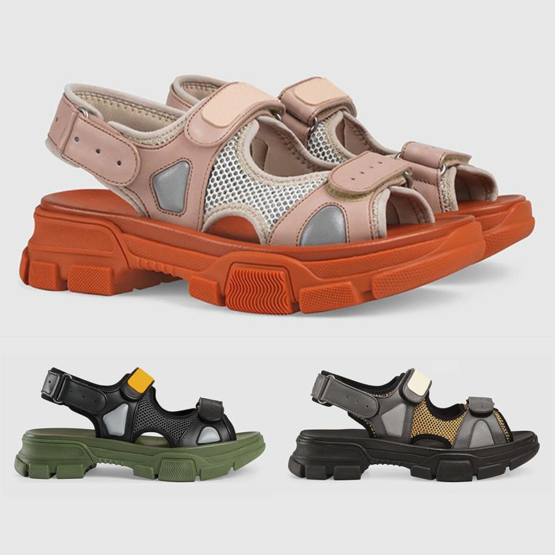 36a8a3d8 Flash Deals Mens Luxury Designer Leather and Mesh Sandal Green White Brown  Women Fashion Casual Sandals Summer Flat Slipper With Box
