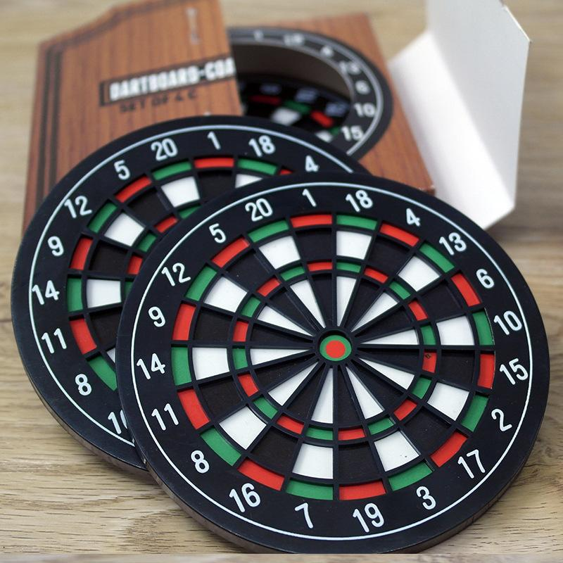 4pcs/set Dartboard Coaster - Kitchen Utensils Bottle Beer Coffee Mug Cup Table Mat Dart Board Styled Coasters Placing Mat
