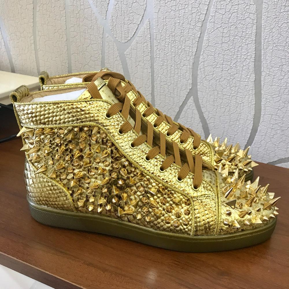 Casual Designer Sneakers Fashion Men Gold Snake Python Spikes Lace Up High  Top Designer Sneakers Shoes Trainers Wedges Shoes Black Shoes From  Kaochange c93c5d0c96b1