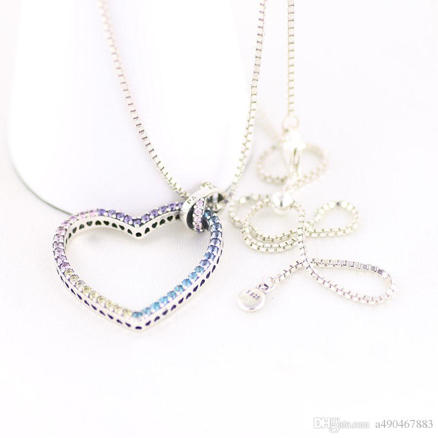 The latest hot fashion brand S925 necklace heart-shaped silver necklace for fashion women and couples gifts come with box