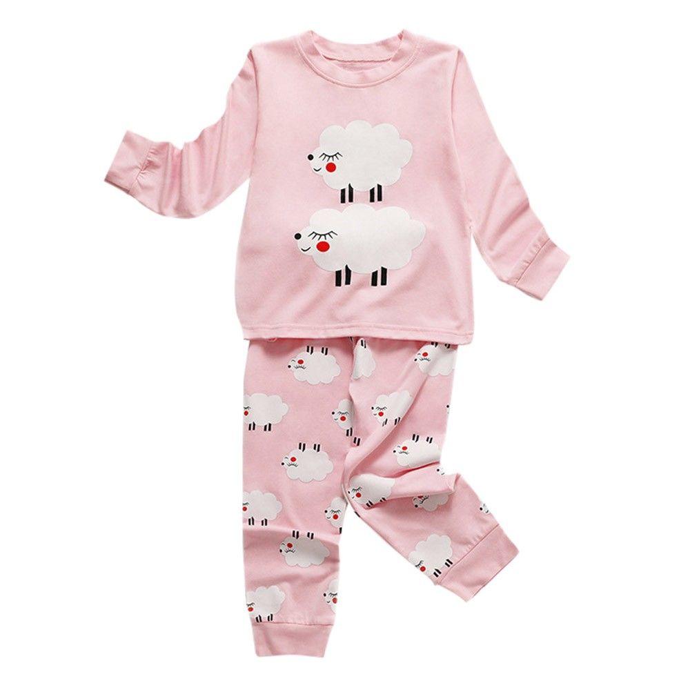 f0233e8024 Toddler 2018 Kids Pajamas Sets Baby Girls Boys Clothes Sheep Print Pajamas  Sleepwear Long Sleeve T Shirt Tops Pants Outfits Toddler Boy Christmas  Pajamas ...