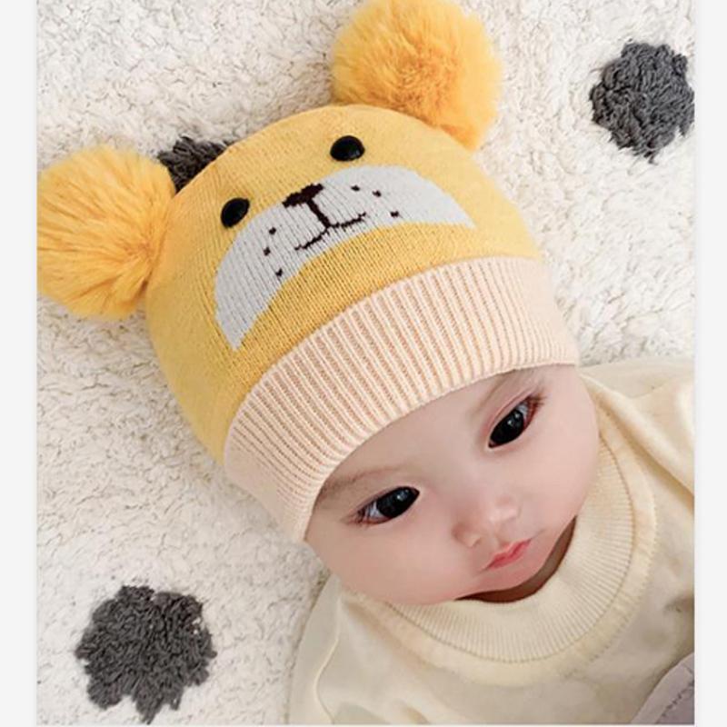 0-24 meses bebé del sombrero de los niños de la gorrita tejida del bebé muchachas de los sombreros del casquillo del invierno la muchacha del niño recién nacido del muchacho apoyos sombrero gorros tejidos de los niños lindos