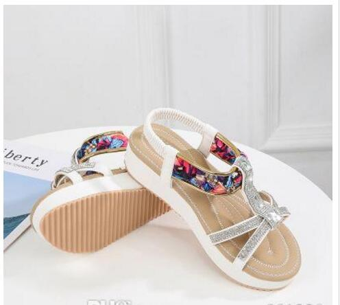 55be08dc06e0a 2019 Fashion New Sandals Female Summer Flat Round Head Women S Shoes  Bohemian National Wind Comfortable Women S Sandals Wild Platform Sandals  Wedges Shoes ...