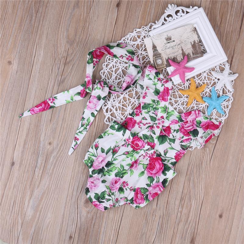Floral Impresso Meninas bonitas Verão macacão sem mangas recém-nascido do bebé Bodysuit Romper Macacão roupas Outfits sunsuit