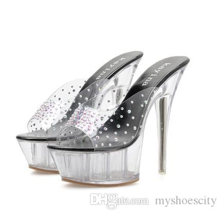 15cm luxury women designer shoes rhinestone crystal shoes clear heels pumps size 35 to 40 41