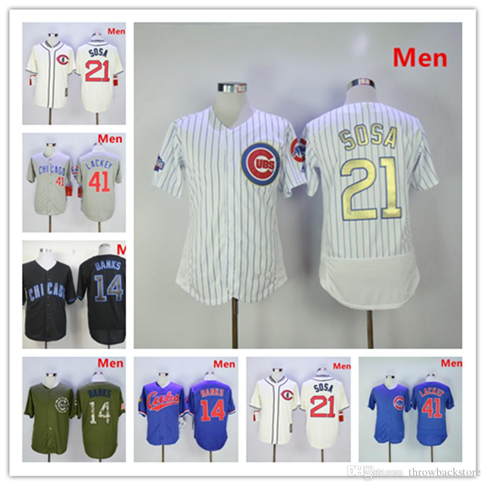 a9b8aa141 Chicago 14 Ernie Banks Jersey Cubs 21 Sammy Sosa 41 John Lackey Gold ...