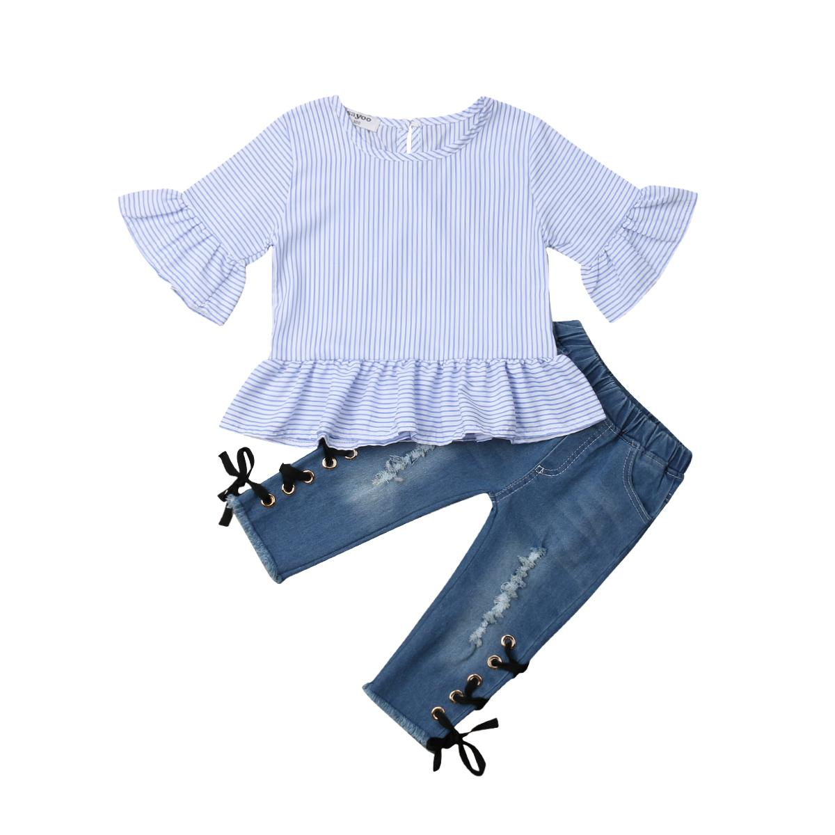 dd91f40cc 2019 Kids Baby Girl Ruffle Striped Chiffon Tops Flare Short Sleeve ...