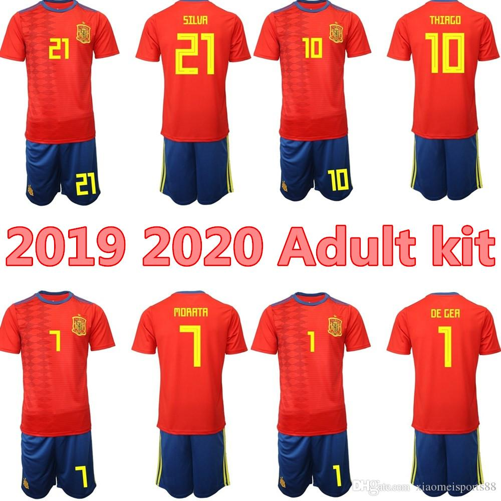 lowest price 9d9e0 9e228 MEN kits 2019 2020 SPAIN RAMOS ISCO soccer Jerseys 19 20 Adult kit PIQUE  SERGIO A. INIESTA ASENSIO THIAGO MORATA home Football shirt