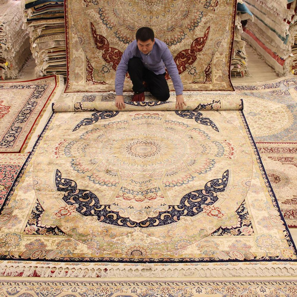 Yilong 6.6'x9.5' HandKnotted Silk Persian Rug Furniture Luxurious Carpet 1632