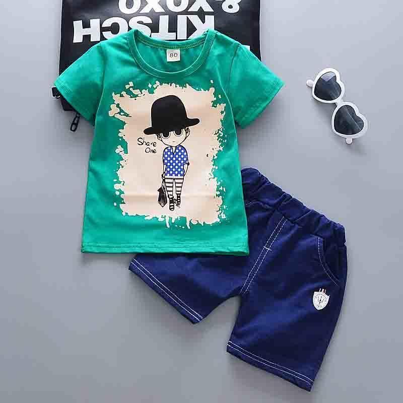6bfe30979c32ef good quality Boys Summer Clothing Sets Children Fashion T Shirt+Short 2pcs  Outfits Cotton Sports Cartoon Printed Kids Clothes