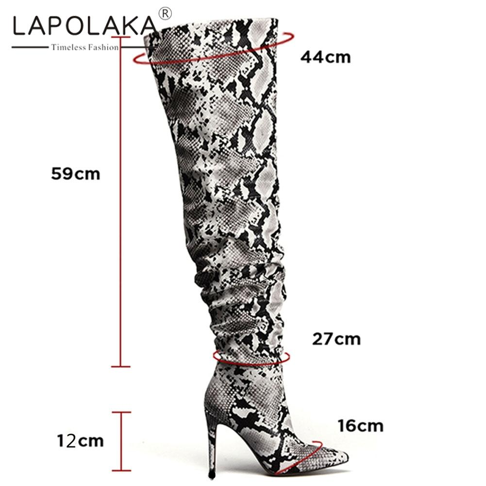 850e4866aebb Lapolaka 2019 Large Size 33 43 Thin Heels Over The Knee Boots Woman Shoes  Slip On Pointed Toe Elegant INS Hot Boots Shoes Woman Womens Ankle Boots  Leather ...