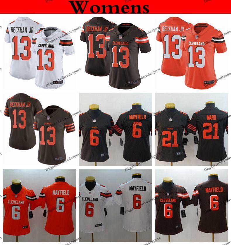 new product 2ad8c 78c45 Womens Cleveland Ladies Browns 13 Odell Beckham Jr. 6 Baker Mayfield 21  Denzel Ward Girls Football Jerseys