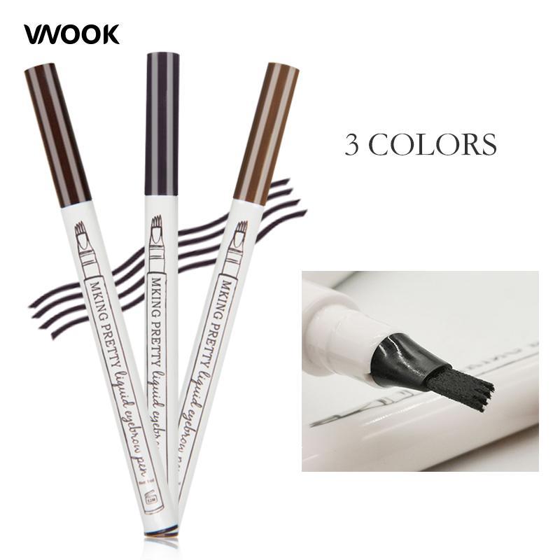 Vnook Brand Makeup Fine Sketch Liquid Eyebrow Tattoo Pen Waterproof Black  Brown Pigment Durable Eye Brow Enhancer Smudge-proof