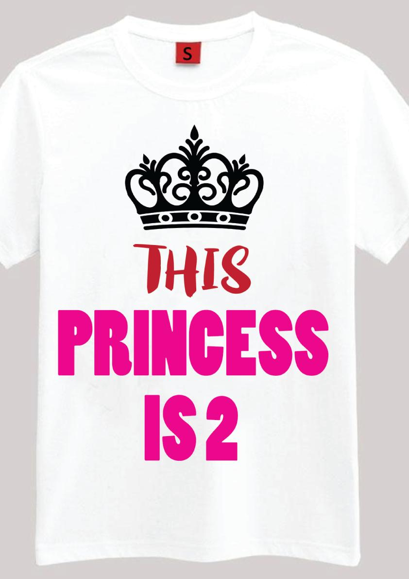 The Princess Is 2 2nd Birthday Gift T Shirt For Year Old Girls Ideas Funny Unisex Casual Tshirt Top Shirts Sale Novelty From Thebestoree