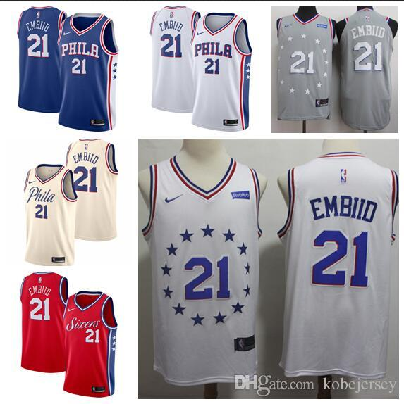 hot sale online a6feb 0716f Men's Philadelphia Joel 76ers 21 Embiid Royal Swingman Jersey - Icon Edition