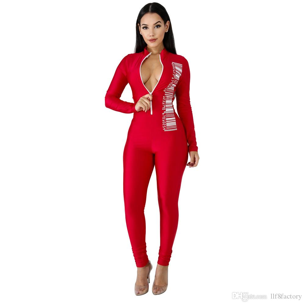 New designer Slim sexy V-neck jumpsuit fashion long-sleeved unique personality barcode printing overalls jumpsuit 9121