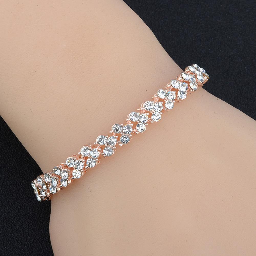 Luxury Vintage Bracelet Crystal Bracelets For Women Charm Silver Bracelets & Bangles Femme Bridal Wedding Fine Jewelry Gift Z319