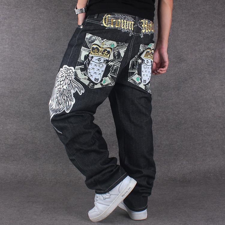 47a338afc8 2019 Hip Hop Men Baggy Jeans Black Denim Loose Pants Overall Rap Jeans  Patern Boy Rapper Fashion Big Size 30 44 Famous Brand From Gavinuni