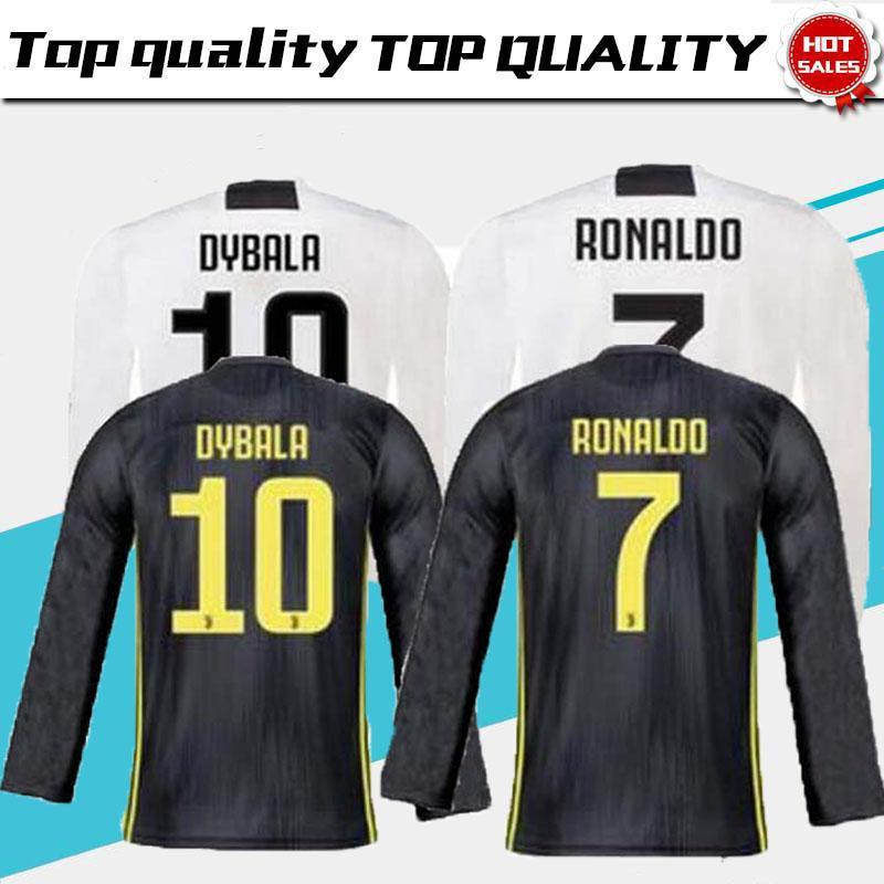75fdafcd672 18 19 Thailand Quality RONALDO Juventus Long Sleeve Soccer Jerseys 2018 19  Juve DYBALA D. COSTA MANDZUKIC Champion League Football Shirt JUVENTUS  Soccer ...