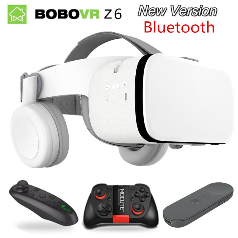 2019 Newest Bobo vr Z6 VR glasses Wireless Bluetooth goggles Android IOS  Remote Reality 3D cardboard Glasses 4 7- 6 2 inch