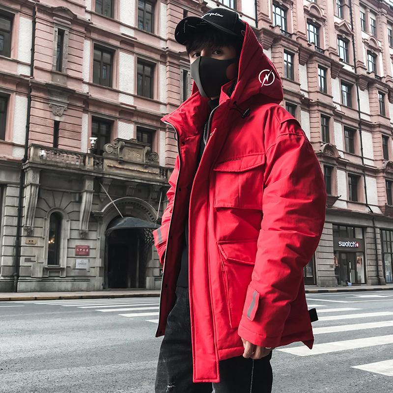 Hip Hop Dicke Windjacke Feder Druck Mit Kapuze Männer Kleidung 2018 Neue Jacken und Mäntel Parka Herren Winter Baumwolle US Größe
