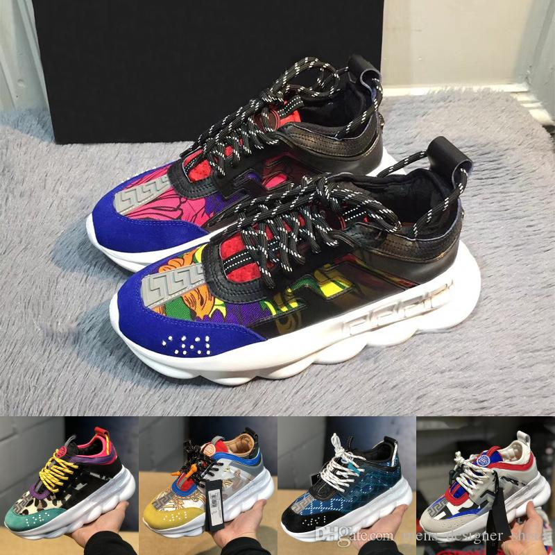 2019 Luxury Chain Reaction mens Designer shoes Trainers Casual ace Women Shoes Lightweight Chain-linked Rubber designer sneakers