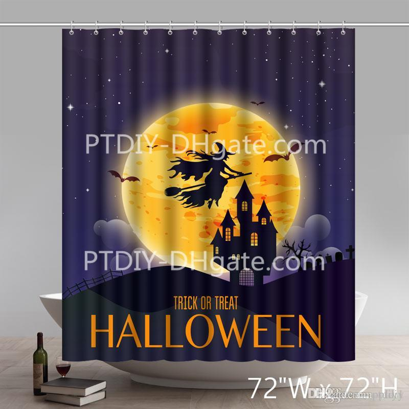 2019 Laurel Home Set Happy Halloween Witch Over The Moon Shower Curtains Custom From Ptdiy1 2136