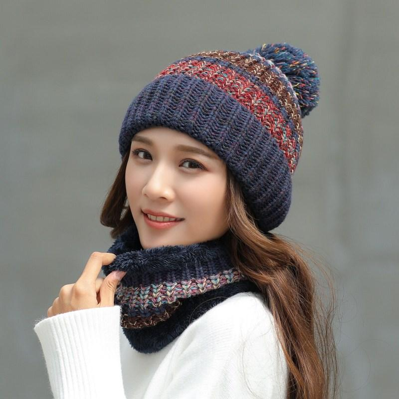 2019 Fashion Pom Poms Winter Hats For Women Knitted Hat Scarf Set Warm Knitted  Caps Scarves Female Hats Scarves Baseball Hat Beach Hats From Vintage66 cf634ff456e