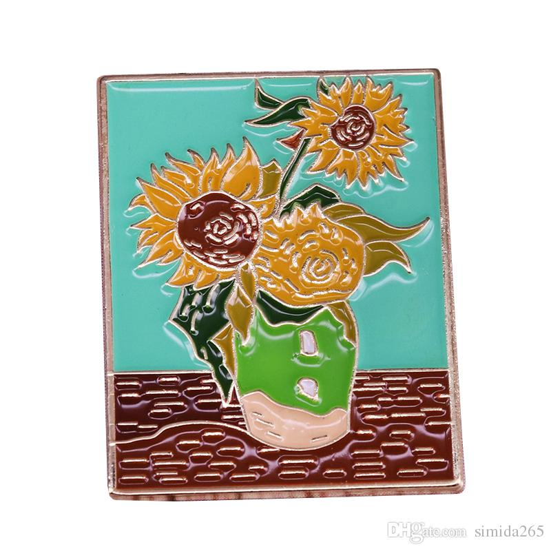 Van Gogh pin sunflower vase brooch colorful oil painting badge artist collection