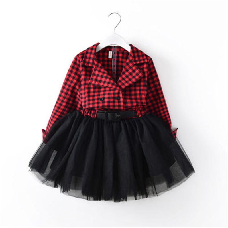 f8af78af5 2019 Fashion Children Girls Dress For Girls Red Plaid Long Sleeve ...