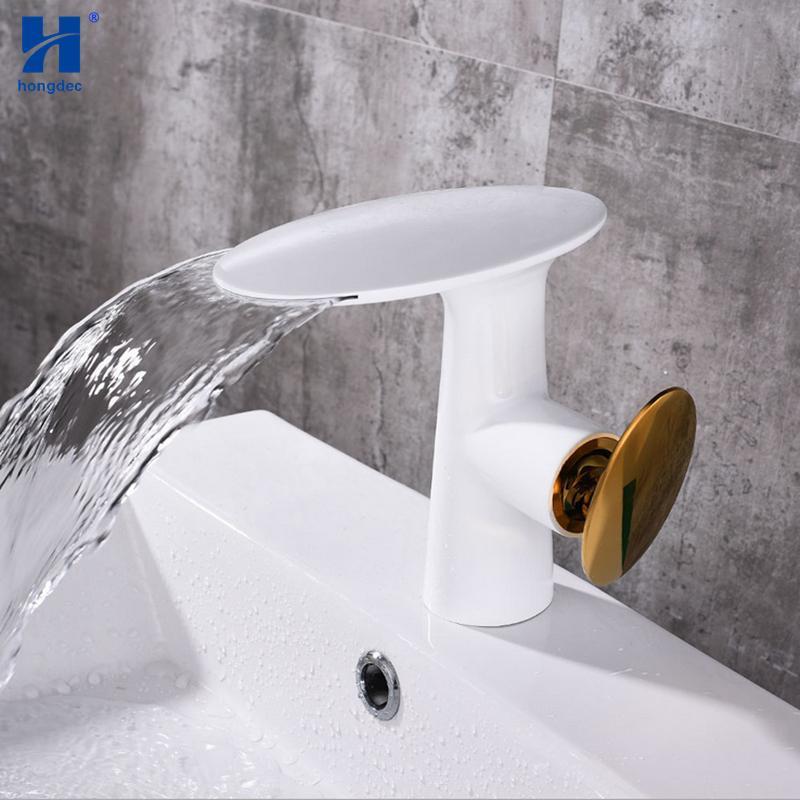 Tremendous Hongdec Modern Design Deck Mount Brass White Bathroom Sink Faucet Waterfall Basin Tap Interior Design Ideas Gentotryabchikinfo