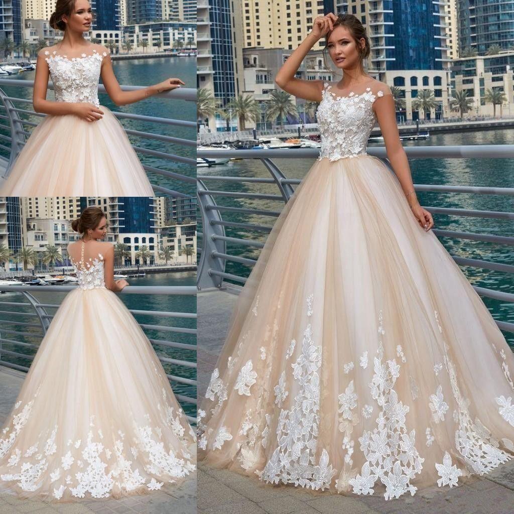 37bd3637e 2019 Designer Wedding Dresses Sheer Neck 3D Flowers Lace Applique Beads  Illusion Cap Sleeves Button Back Sweep Train A Line Bridal Gowns Cheap Wedding  Dress ...