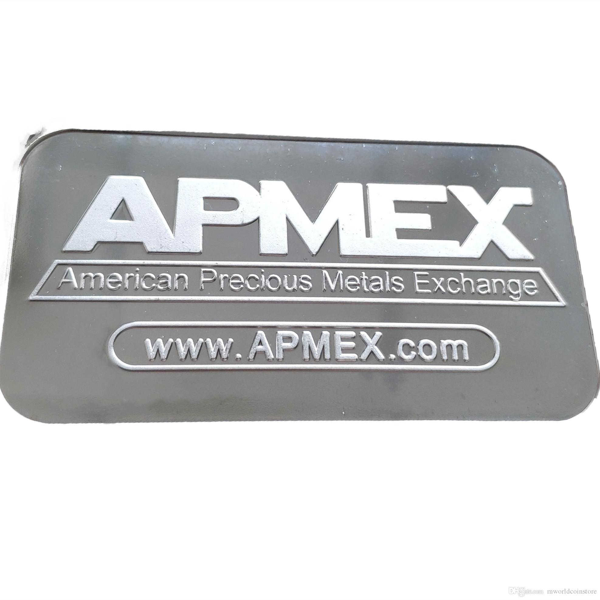 1 OZ APMEX Silver Plated Metal Bar Mint Bullion Bar Silver Coin for Home Collection Souvenir gifts 5 pcs/lot