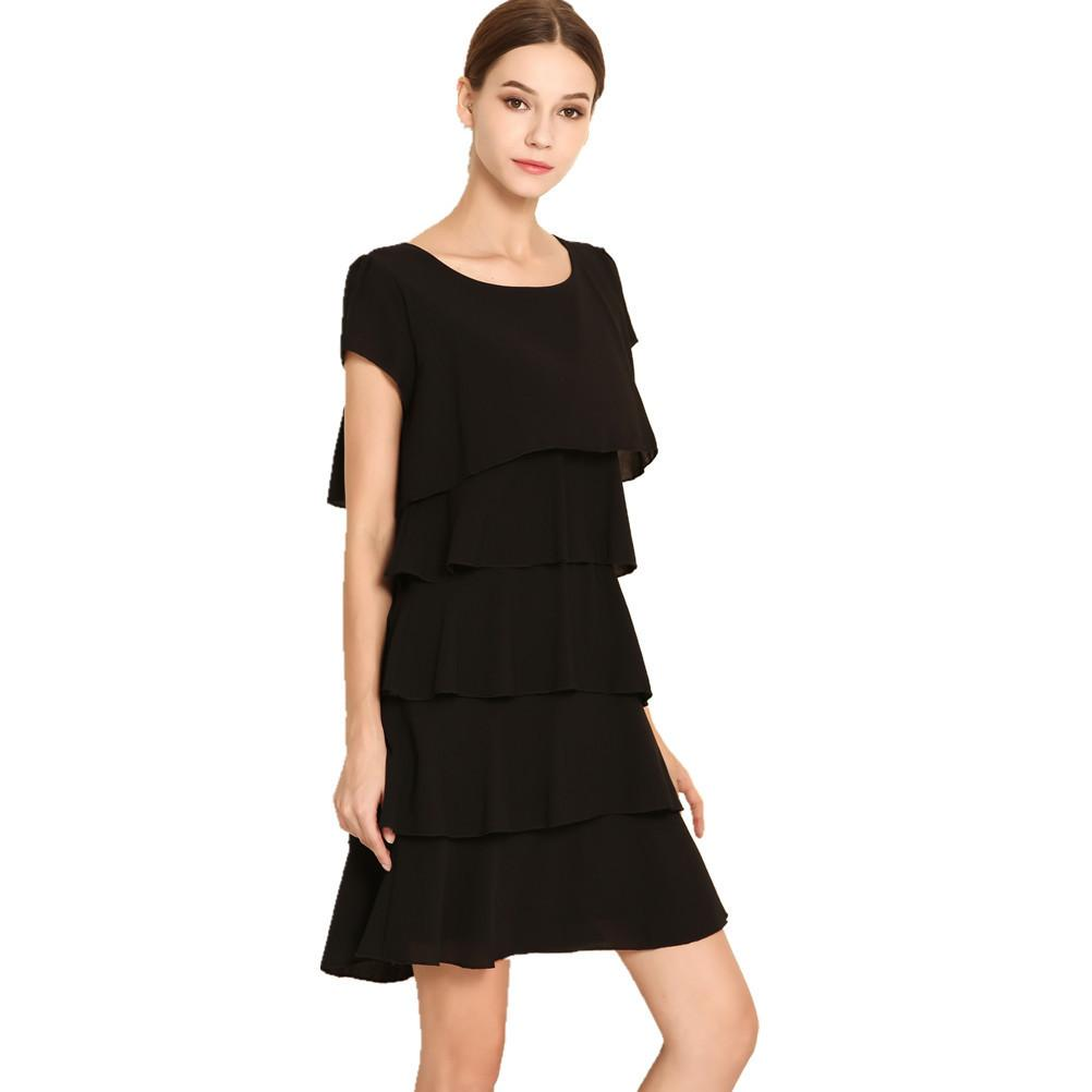 Summer Elegant Chiffon Dress Casual Women Cascading Ruffle Robe Short  Sleeves Cake Dresses Plus Size S-5xl J190507