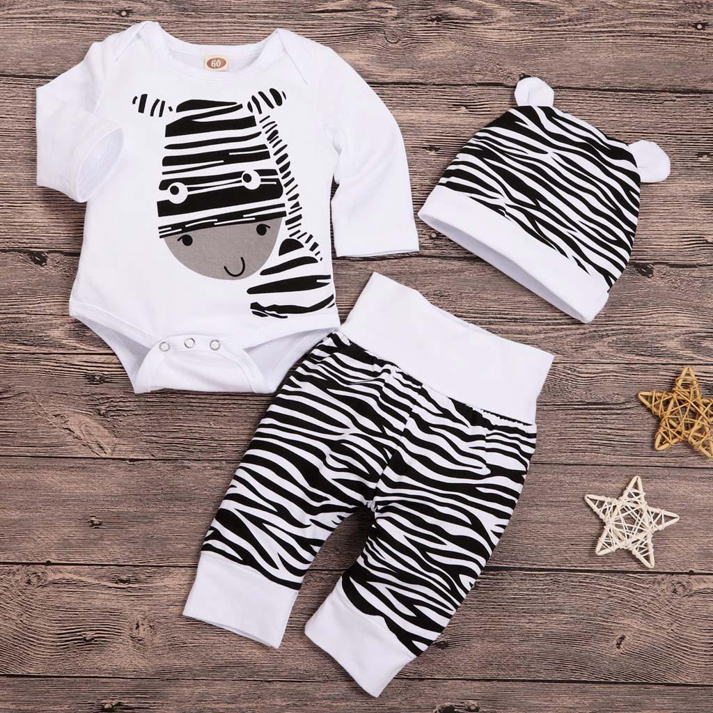Compre Ropa De Bebé 2019 MODA Recién Nacido Infantil Bebé Niños Niñas Dibujos  Animados Cebra Imprimir Tops Pantalones Sombrero Trajes Conjunto L1122 A ... 39378aa30d6