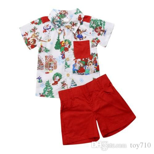 Casual Xmas Toddler Kid Baby Boy Short Sleeve Christmas T Shirt Top+Shorts Pants Cool Outfit Clothes Set 0-5 Summer