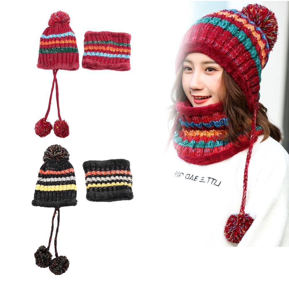 672b6d8a Mujer Otoño Invierno Lana gruesa Tejido Sombrero cálido conjuntos de cuello  Más Orejeras acolchadas de terciopelo Ciclismo Gorros Trajes de bufanda ...