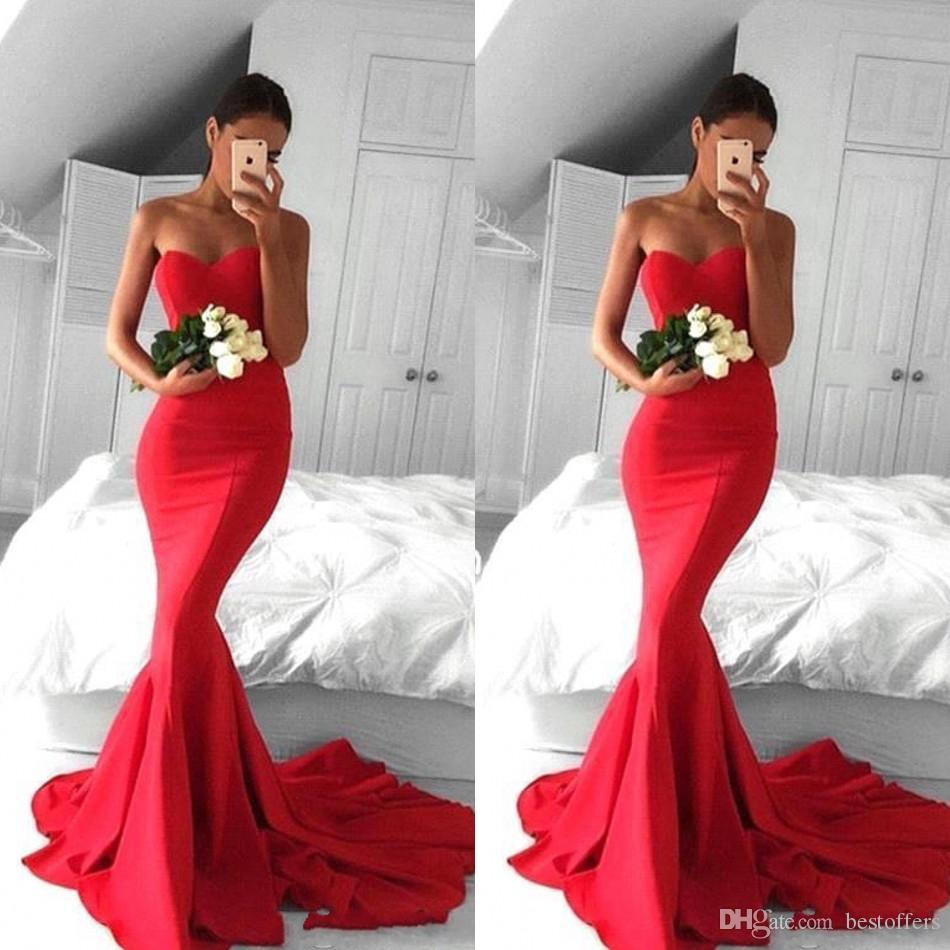 05cadea6e7a58 Simple Red Sweetheart Mermaid Prom Dresses 2019 Backless Sweep Train Satin  Long Evening Gowns Plus Size Custom Made Bridesmaid Dress BC0441 Online Prom  ...