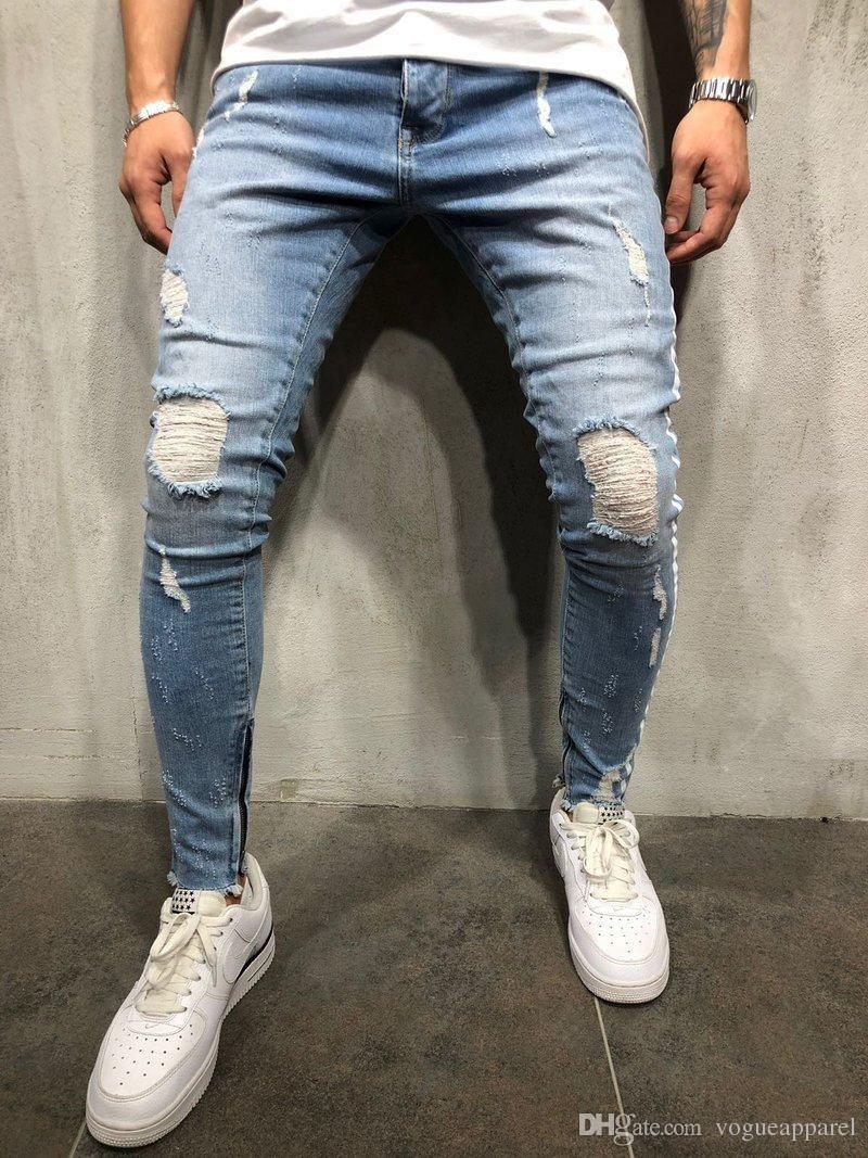 f537e8d8 Compre Mens Traje Roupas Kanye West Jeans Rasgado Azul Denim Calças Dos  Homens Despojado Com Zíper Remendo Calça Jeans Vintage High Street De  Forseason, ...