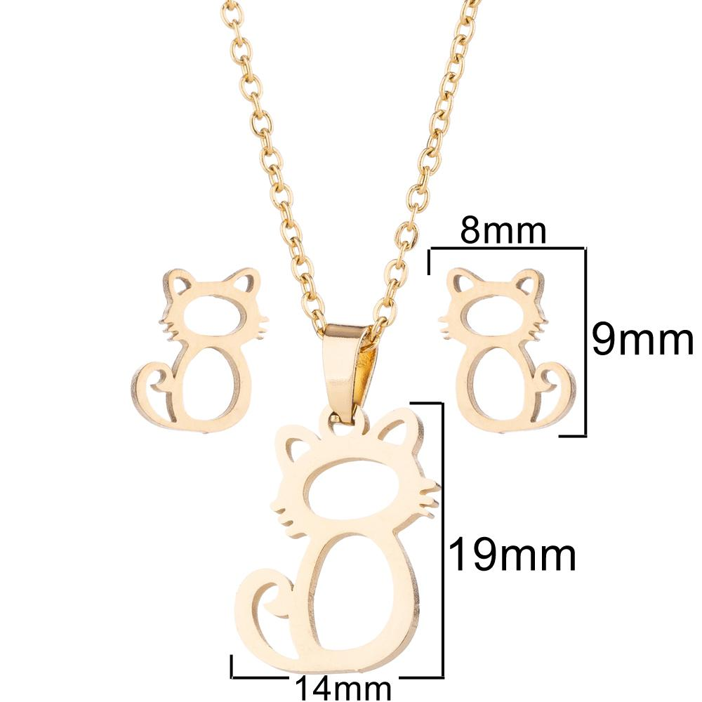 Jewelry Sets Stainless Steel Earrings Necklaces Set For Women 2018 Animal Hollow Cat Pendent Necklaces Earrings Jewelry Sets