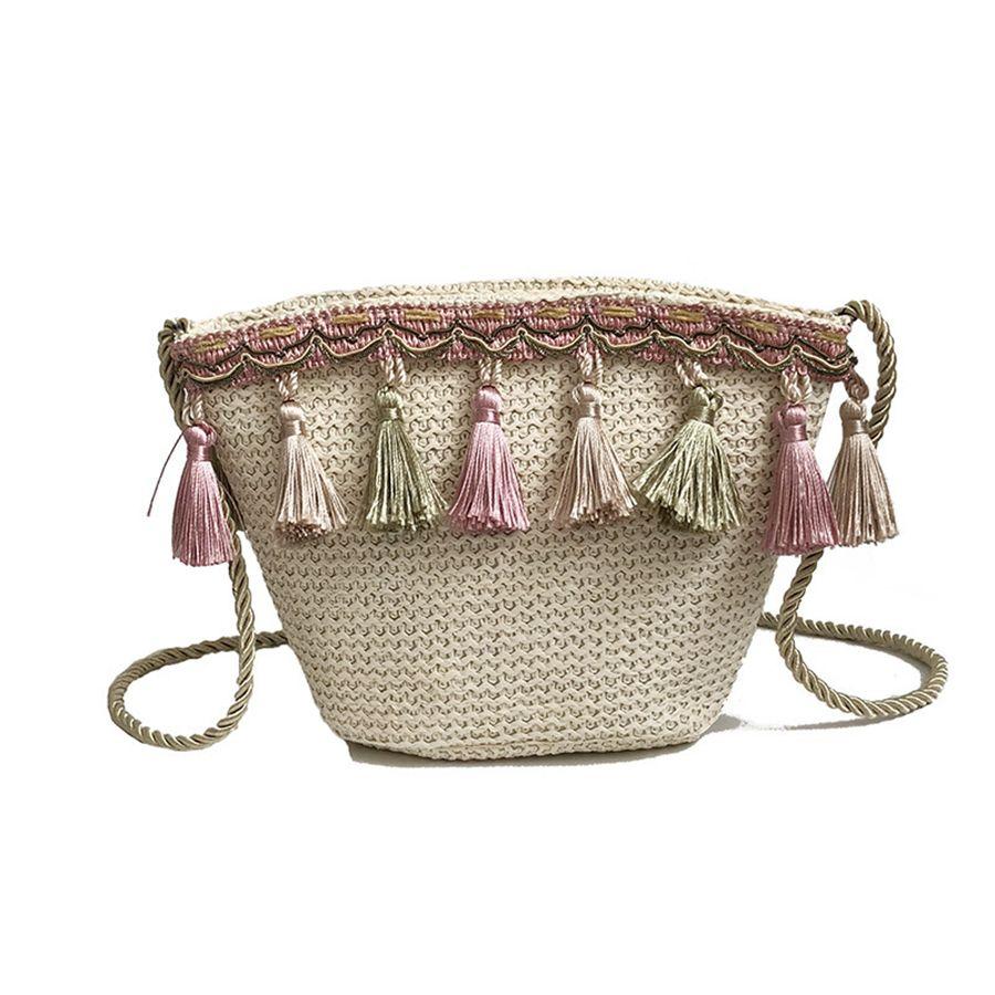 924839ea50 2019 Women Straw Woven Bag Vintage Tassel Braided Bucket Bag Fashion  Bohemian Style Beach Straw Shoulder Bagsag RRA656 From Nb_sport, $6.65 |  DHgate.Com