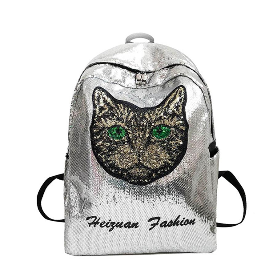 29f0706c4e Trendy Sequin Cute Cat Pattern Gradient Backpack Female Casual Girl Travel  Backpacks Funny Cartoon School Bag For Women Backpack Mesh Backpack Justice  ...