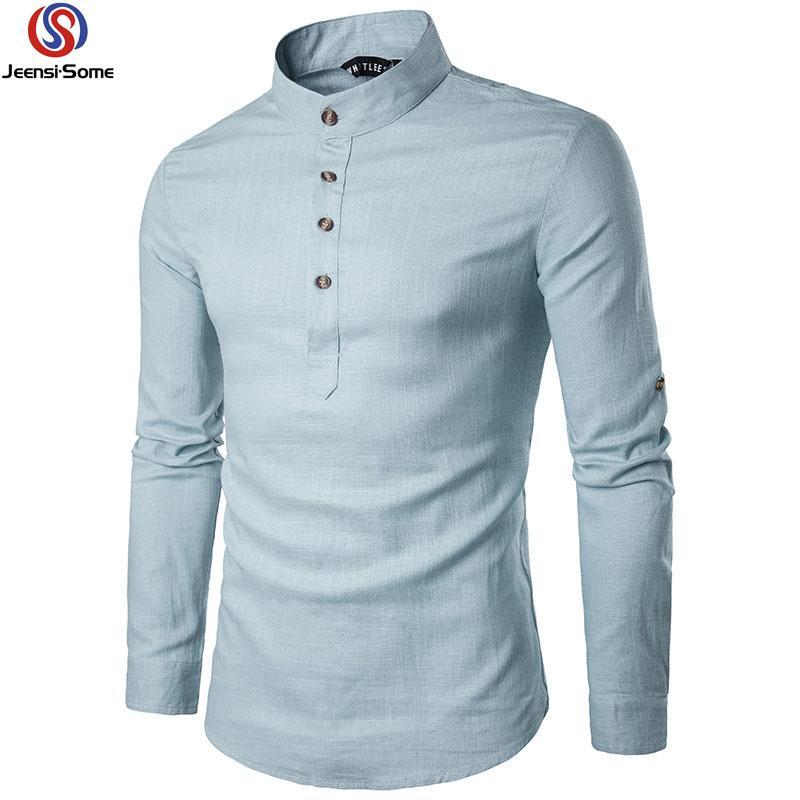 on sale e7f06 80e79 camicie di lino uomo camicia manica lunga uomo slim fit camicia vintage  mens abbigliamento boutique rosso verde nero bianco casual S-2XL