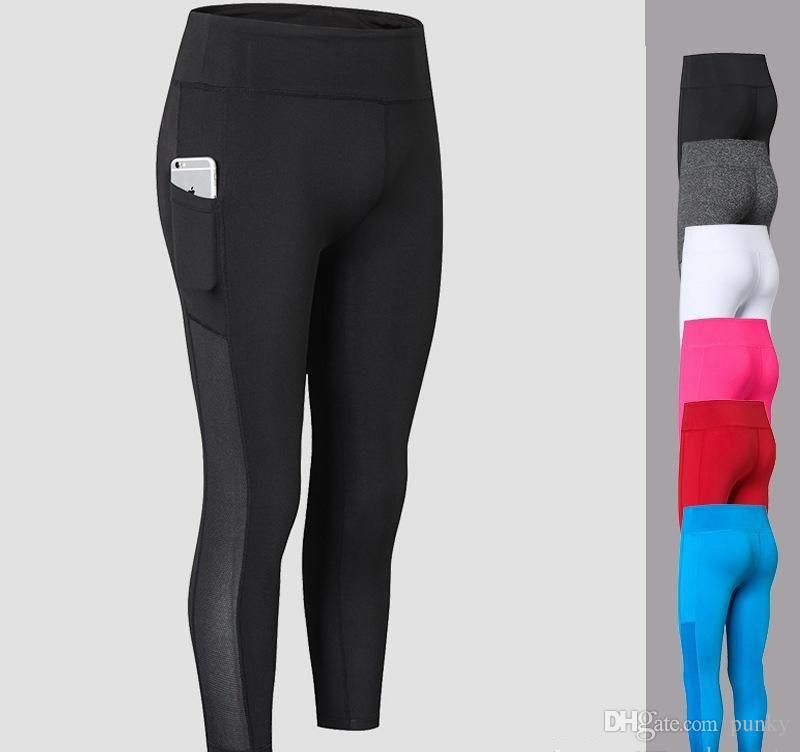 1a536d55b7119d 2019 High Waist Yoga Pants With Pocket Outdoor Running Workout Wear Yoga  Leggings For Women Gym Fitness Cropped Trousers Pants From Punky, $7.7 |  DHgate.Com