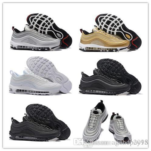 b1e9f6b772b9 2018 Air 97 OG Undftd Black Green Gold Silver Bullet Shoes 97s Men Women  Ultra Sean Wotherspoon Undftd Undefeated AIrs Casual Sneakers Mens Dress  Shoes ...
