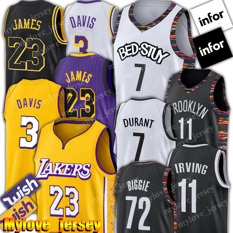 LeBron James Jersey Net 23 Kevin Durant Jersey 7 11 Kyrie Irving jerseys Anthony Davis 3 jerseys del baloncesto Negro 72 Biggie