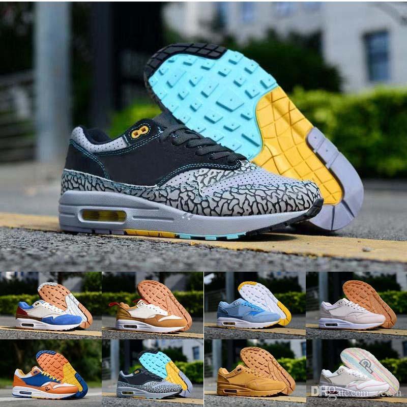 new product 6a4d3 dc457 Compre Nike Air Max 1 Premium Albert Heijn ATMOS Elefante Mandarina Ice  Centre Pompidou Blue Mars Yard Running Zapatos Max 1S Qué Las Mujeres Mens  Sneakers ...