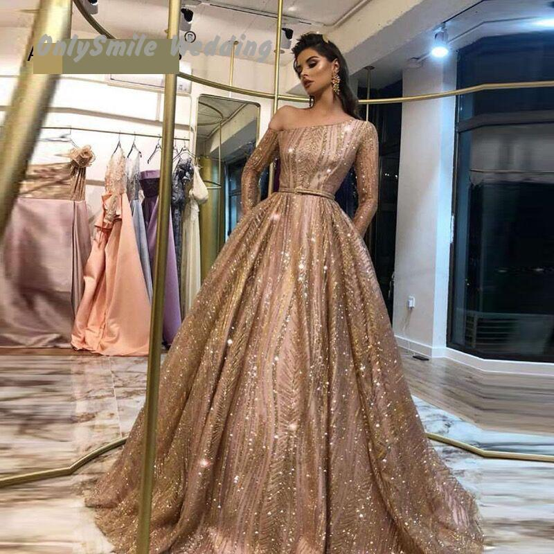 Maßgeschneiderte Long Sleeves Gold Abendkleid 2019 One Shoulder Glitters Lace Arabisch Abendkleider Abiye Gece Elbisesi Party Gown