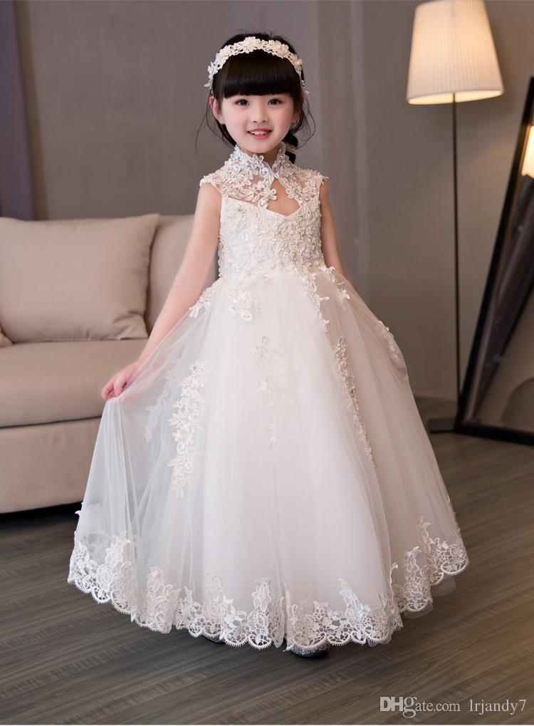 4bc4de65408e High Collar Girl S Pageant Birthday Party Dress Beads Sequin Tulle ...