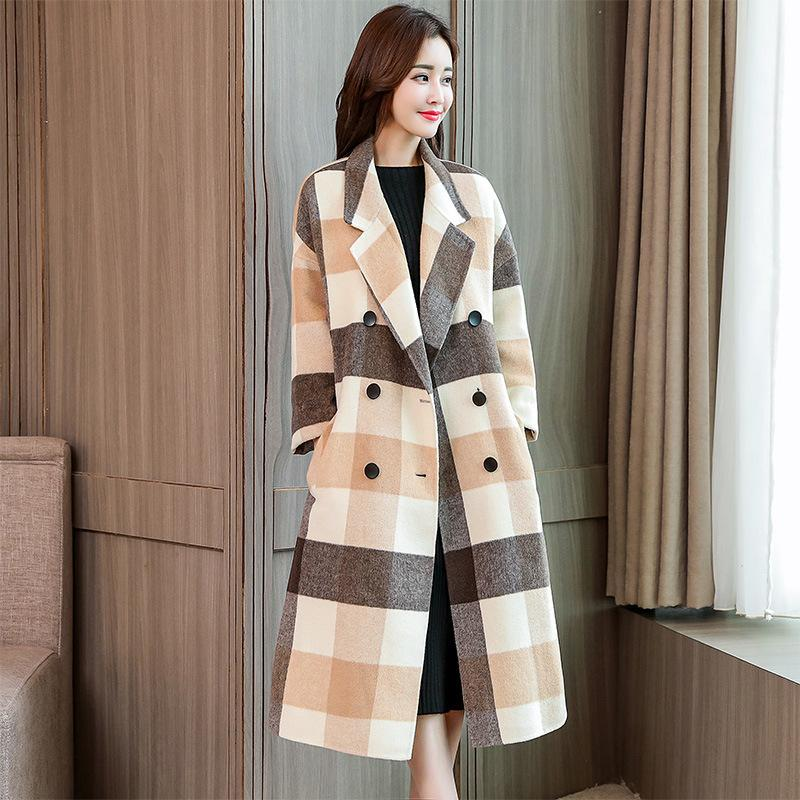 17521ce63529 2019 Woolen Coat Female Long 2018 Autumn Winter New Style Korean Fashion  Double Breasted Plaid Temperament Slim Fit Jacket Fashion From Elseeing